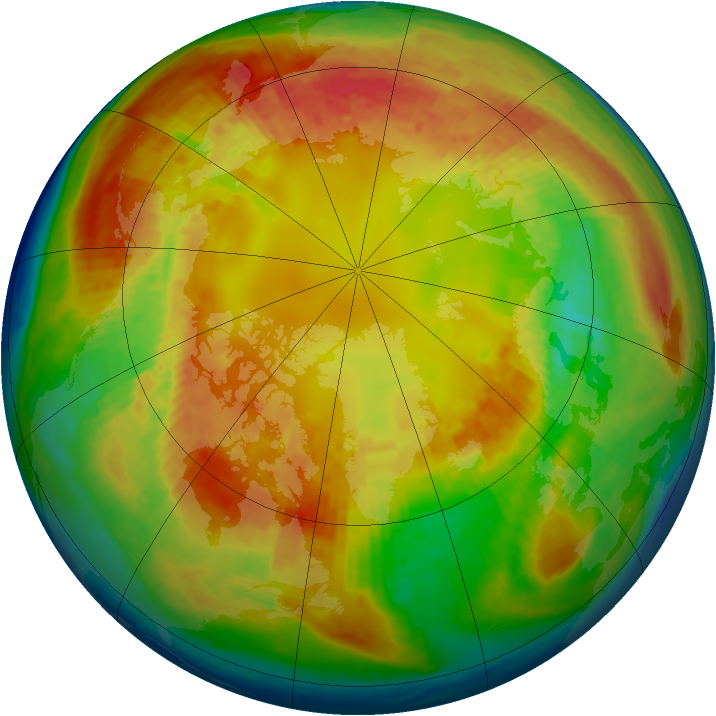 Arctic ozone map for 21 February 2004