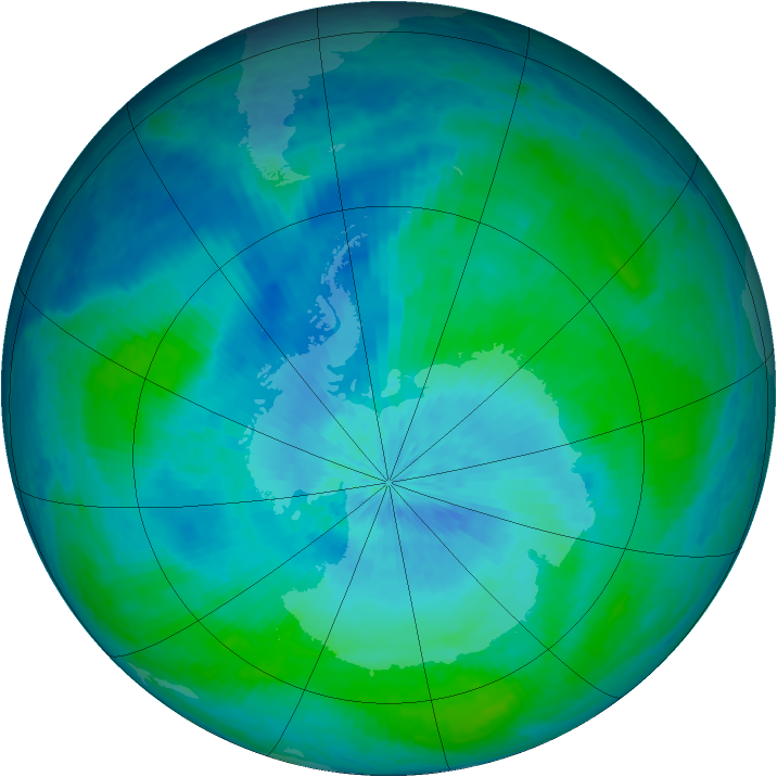 Antarctic ozone map for 25 February 2004