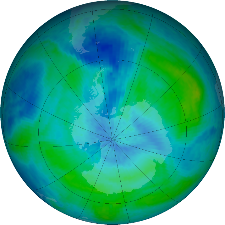 Antarctic ozone map for 28 February 2004