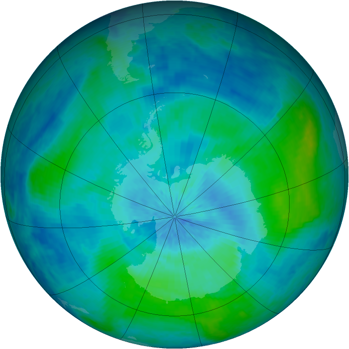 Antarctic ozone map for 01 March 2004