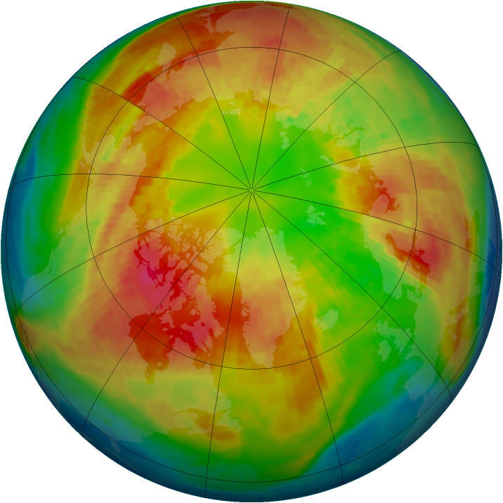 Arctic ozone map for 03 March 2004