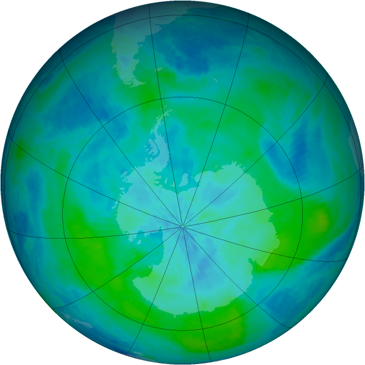 Antarctic ozone map for 06 March 2004