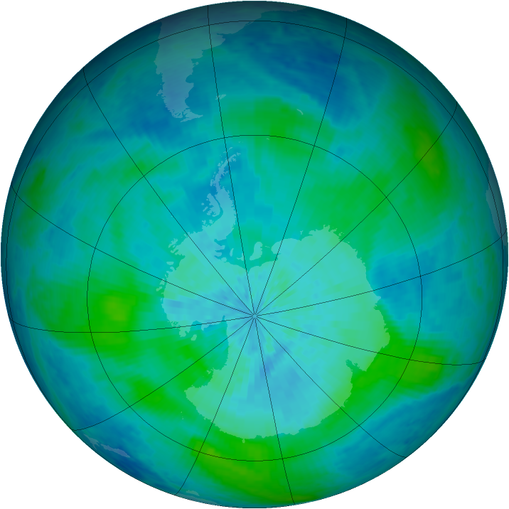 Antarctic ozone map for 07 March 2004