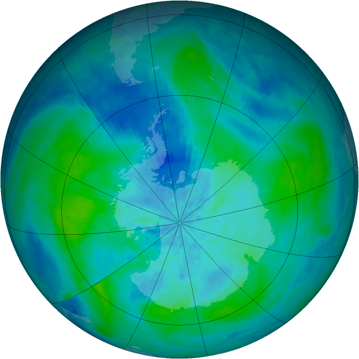 Antarctic ozone map for 10 March 2004