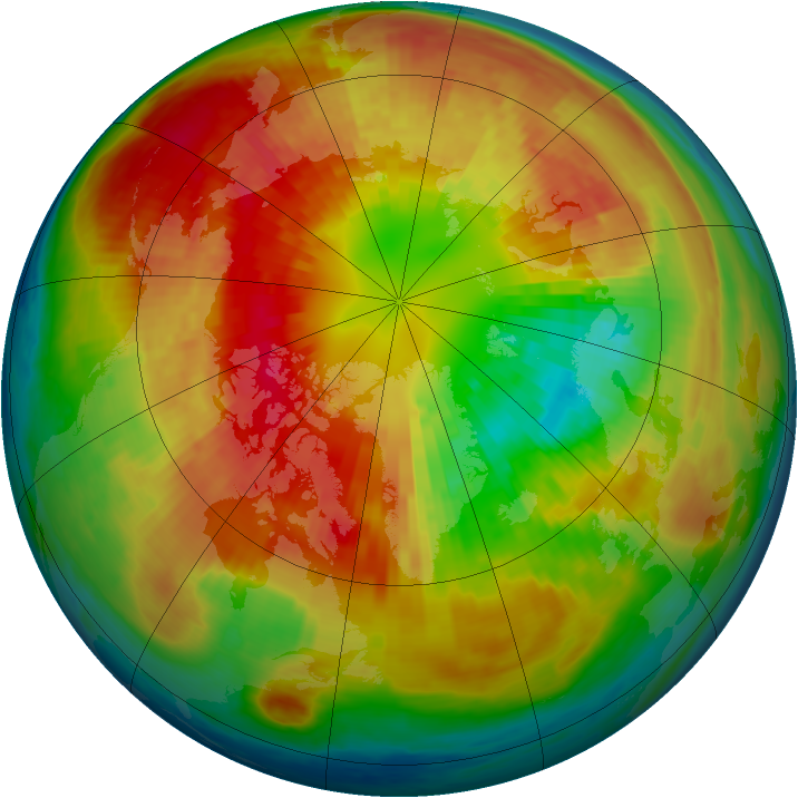 Arctic ozone map for 11 March 2004