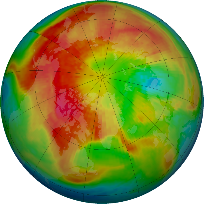 Arctic ozone map for 13 March 2004