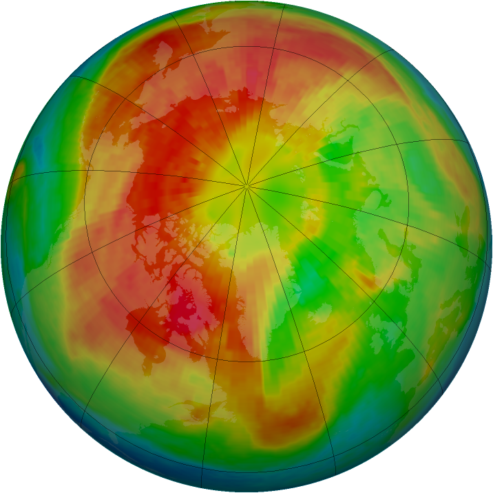Arctic ozone map for 15 March 2004