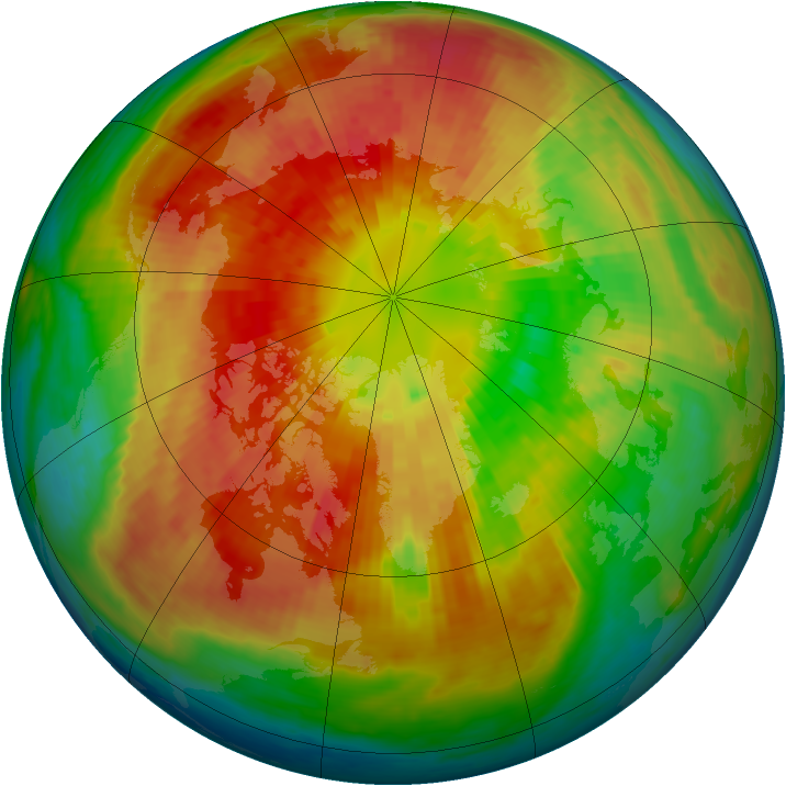 Arctic ozone map for 16 March 2004