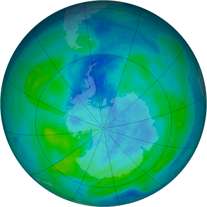 Antarctic ozone map for 17 March 2004