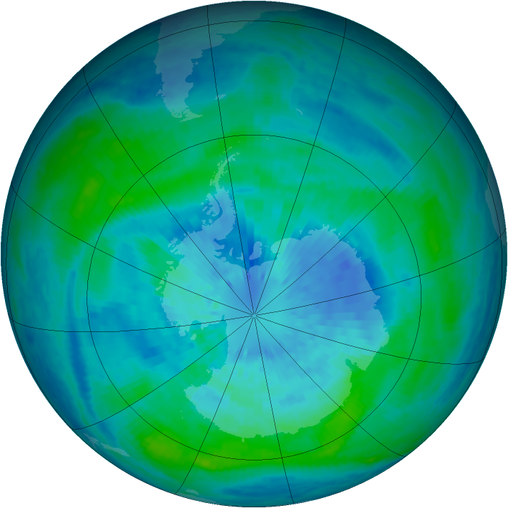 Antarctic ozone map for 21 March 2004