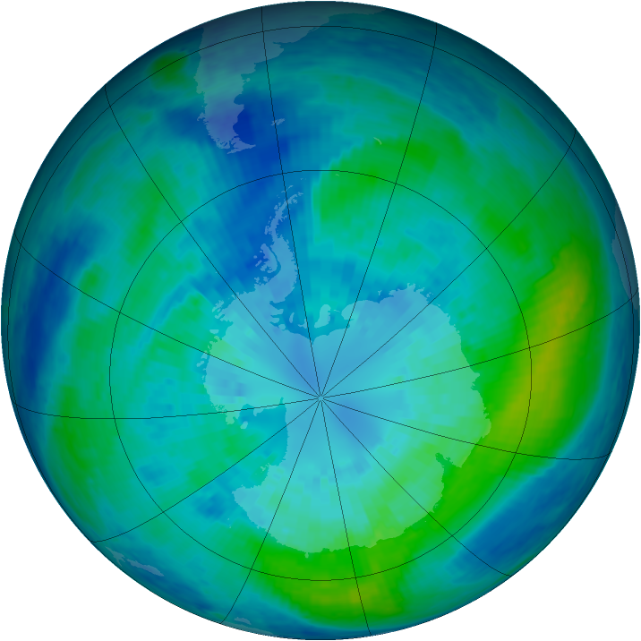 Antarctic ozone map for 30 March 2004