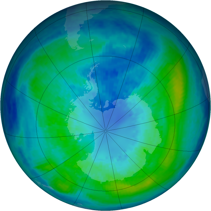 Antarctic ozone map for 02 April 2004