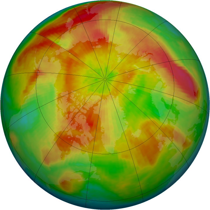 Arctic ozone map for 03 April 2004