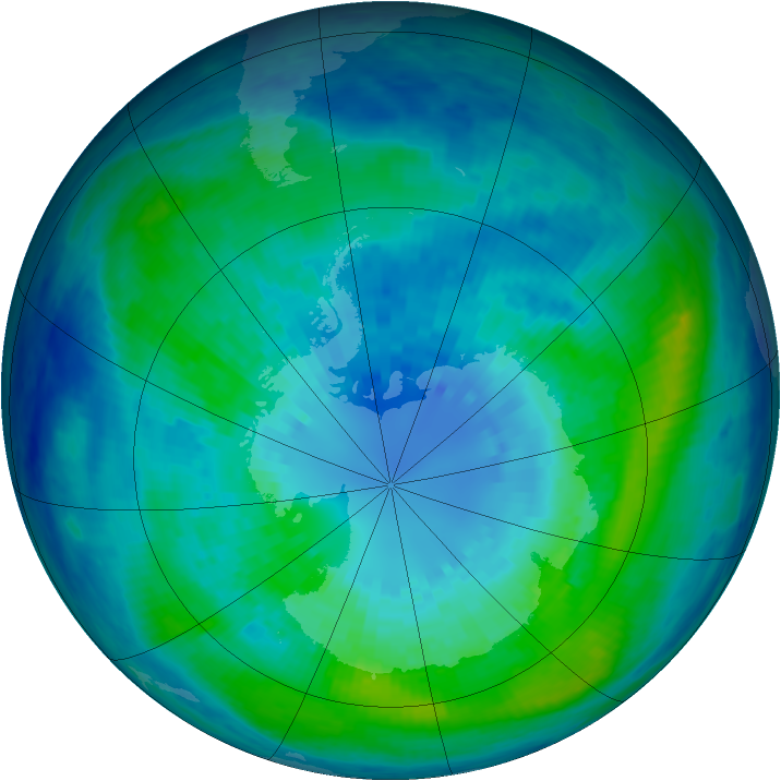 Antarctic ozone map for 03 April 2004