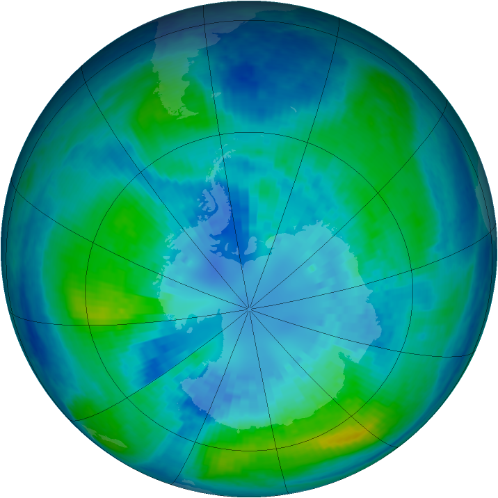 Antarctic ozone map for 06 April 2004