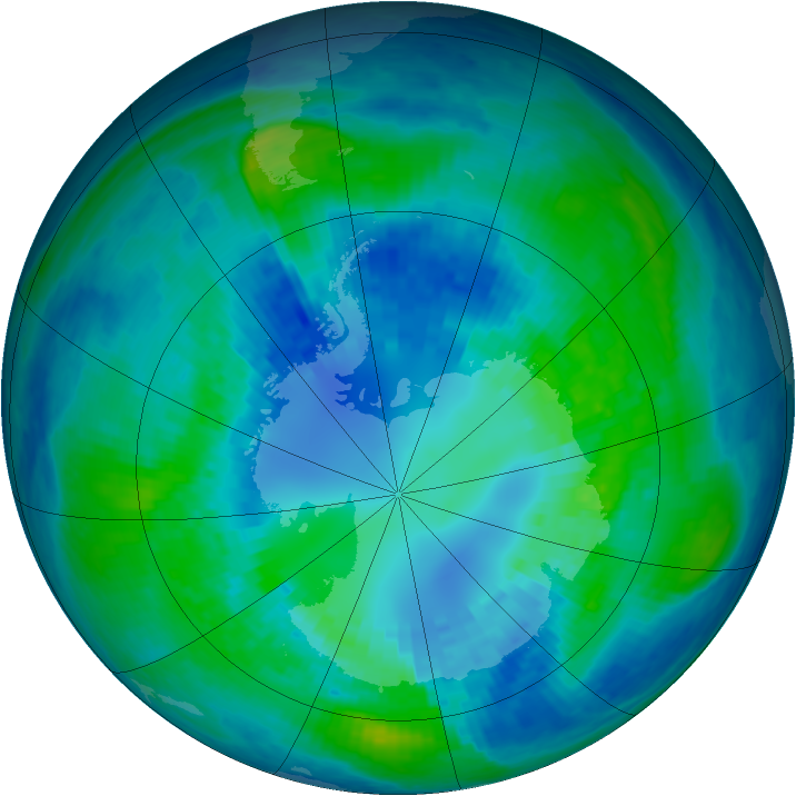 Antarctic ozone map for 13 April 2004