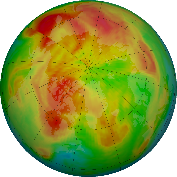 Arctic ozone map for 14 April 2004