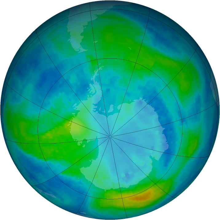 Antarctic ozone map for 20 April 2004