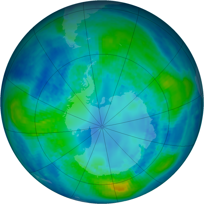 Antarctic ozone map for 21 April 2004