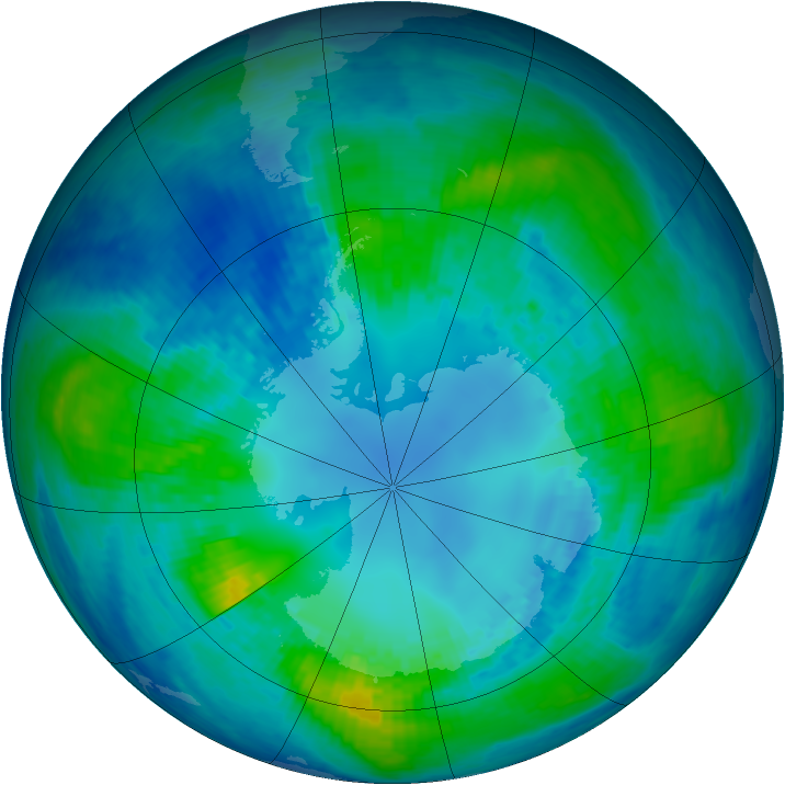 Antarctic ozone map for 22 April 2004