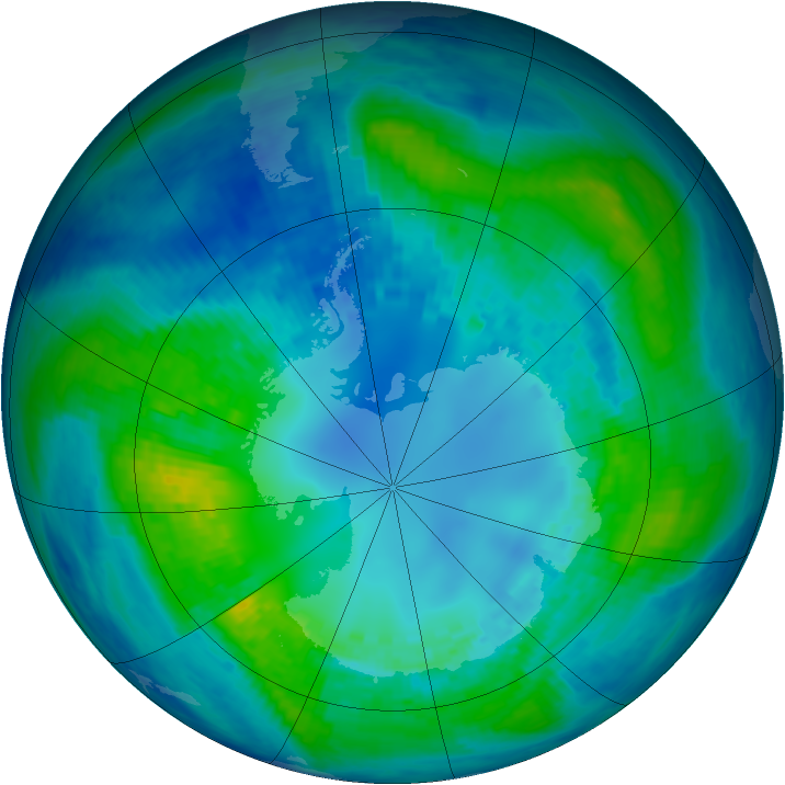 Antarctic ozone map for 23 April 2004