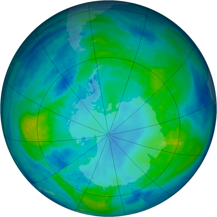 Antarctic ozone map for 30 April 2004