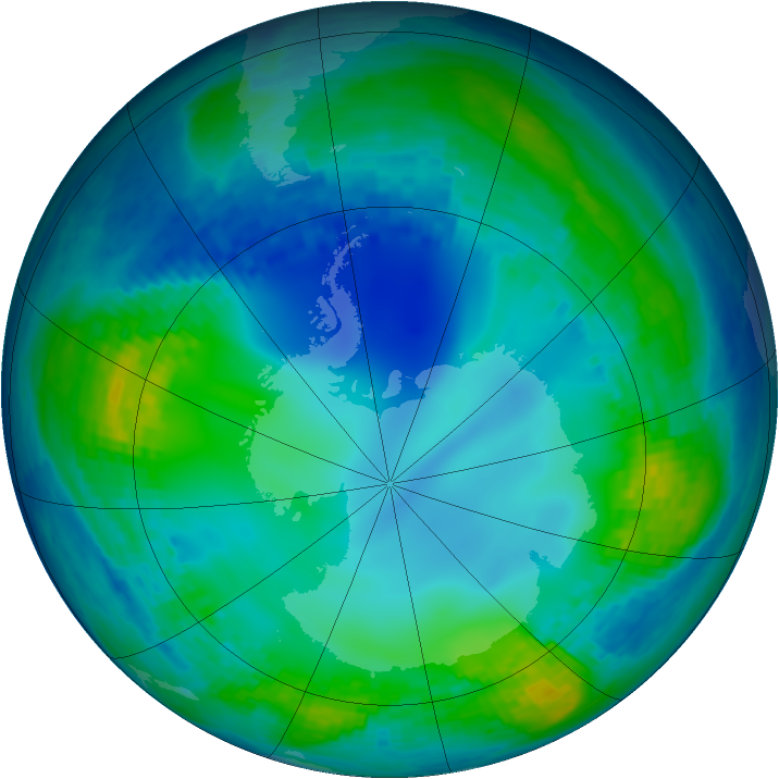 Antarctic ozone map for 20 May 2004