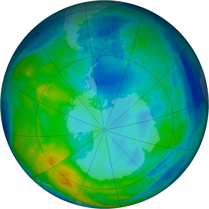 Antarctic ozone map for 01 June 2004