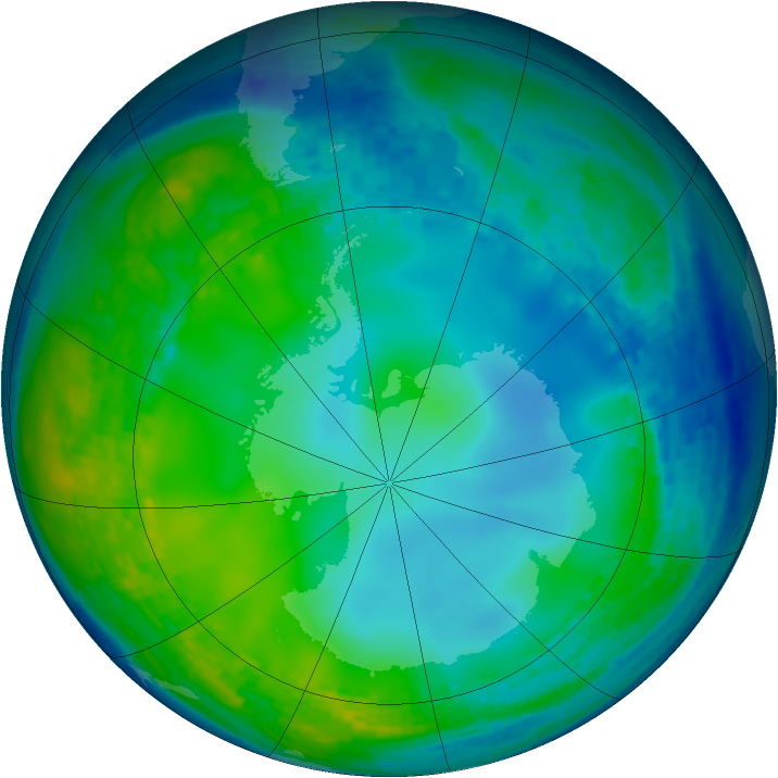 Antarctic ozone map for 03 June 2004