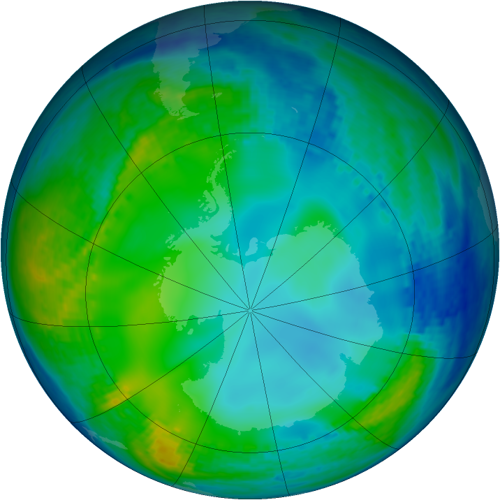 Antarctic ozone map for 04 June 2004