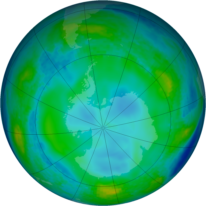 Antarctic ozone map for 09 June 2004