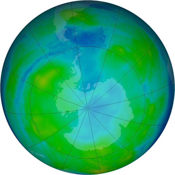 Antarctic ozone map for 11 June 2004