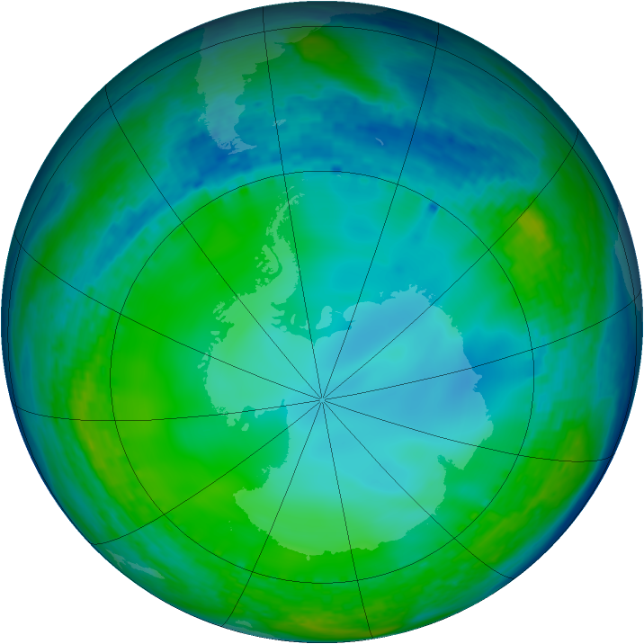 Antarctic ozone map for 12 June 2004