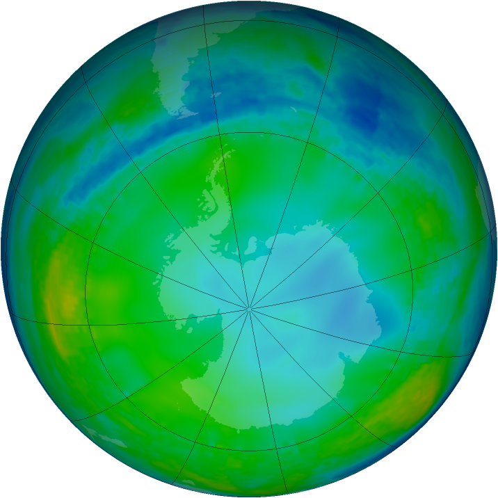 Antarctic ozone map for 13 June 2004