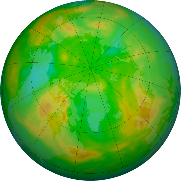 Arctic ozone map for 21 June 2004