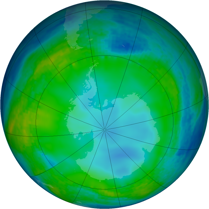 Antarctic ozone map for 27 June 2004