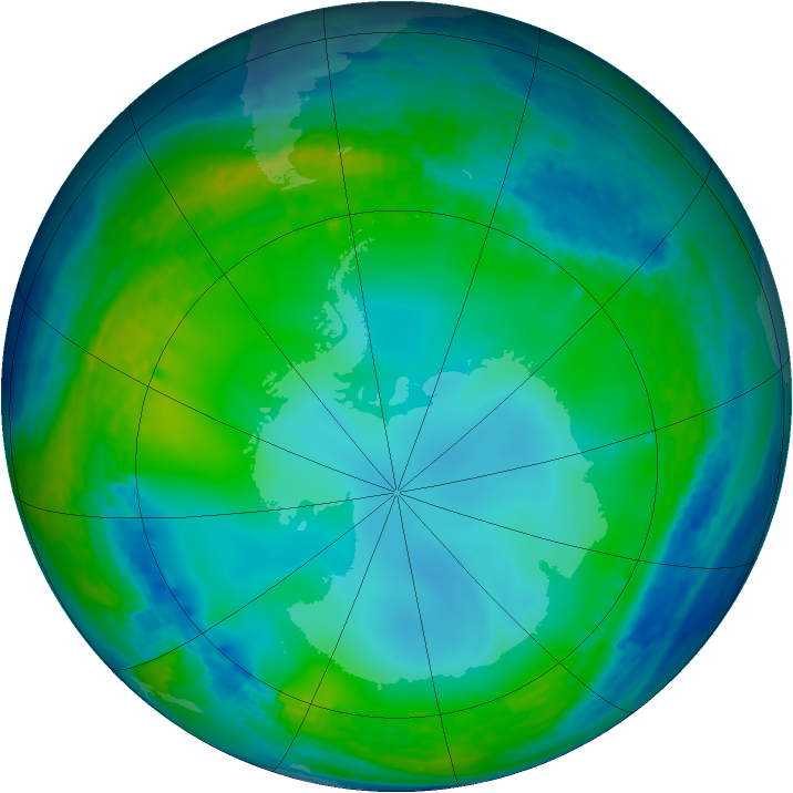 Antarctic ozone map for 28 June 2004