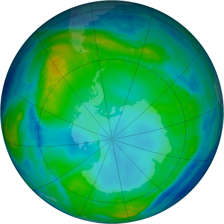 Antarctic ozone map for 29 June 2004