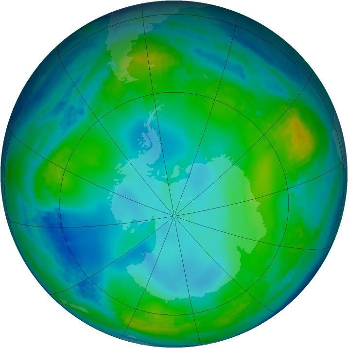 Antarctic ozone map for 02 July 2004