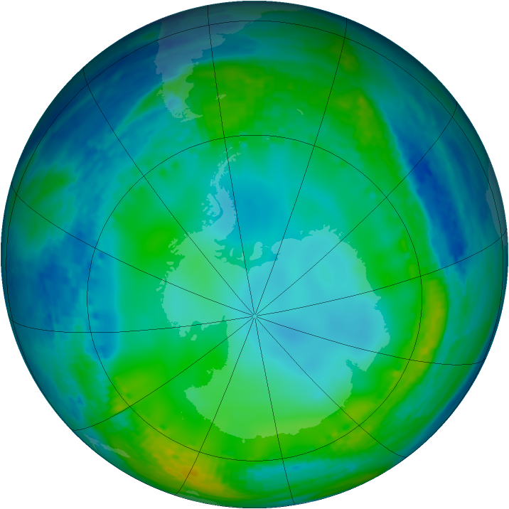 Antarctic ozone map for 06 July 2004