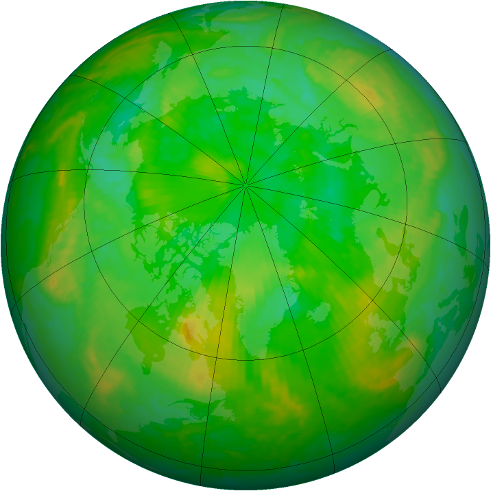 Arctic ozone map for 07 July 2004