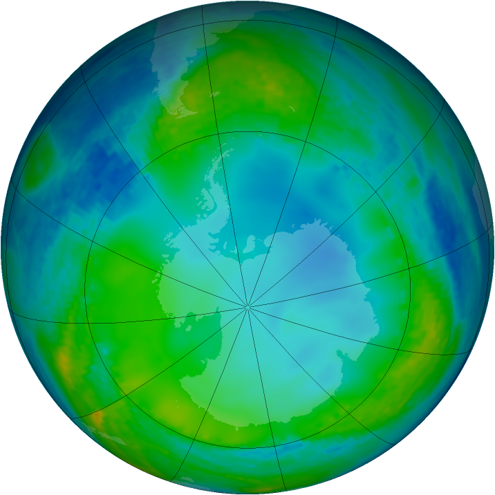 Antarctic ozone map for 08 July 2004