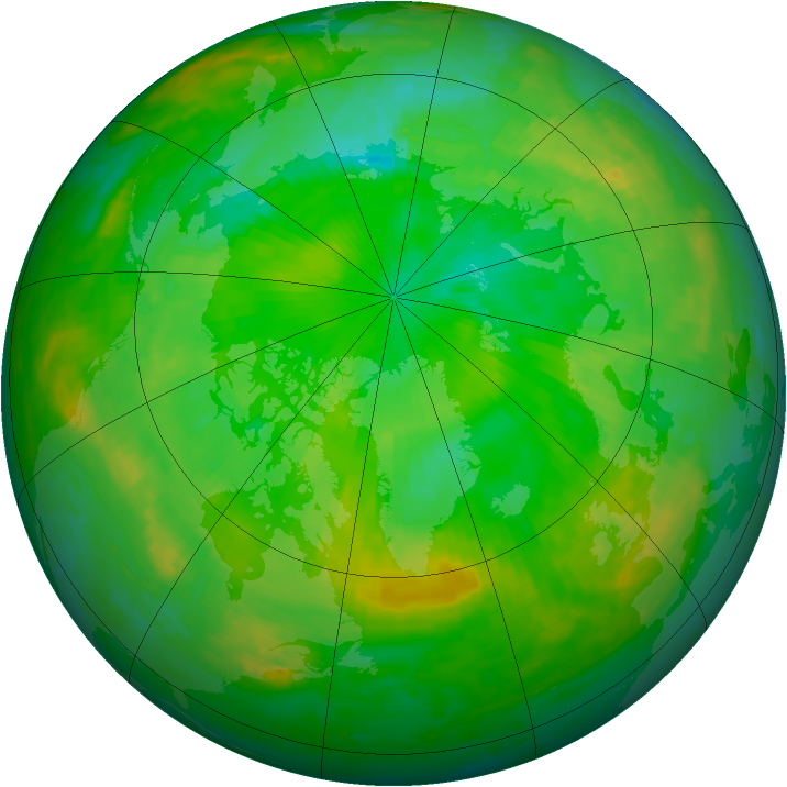 Arctic ozone map for 09 July 2004
