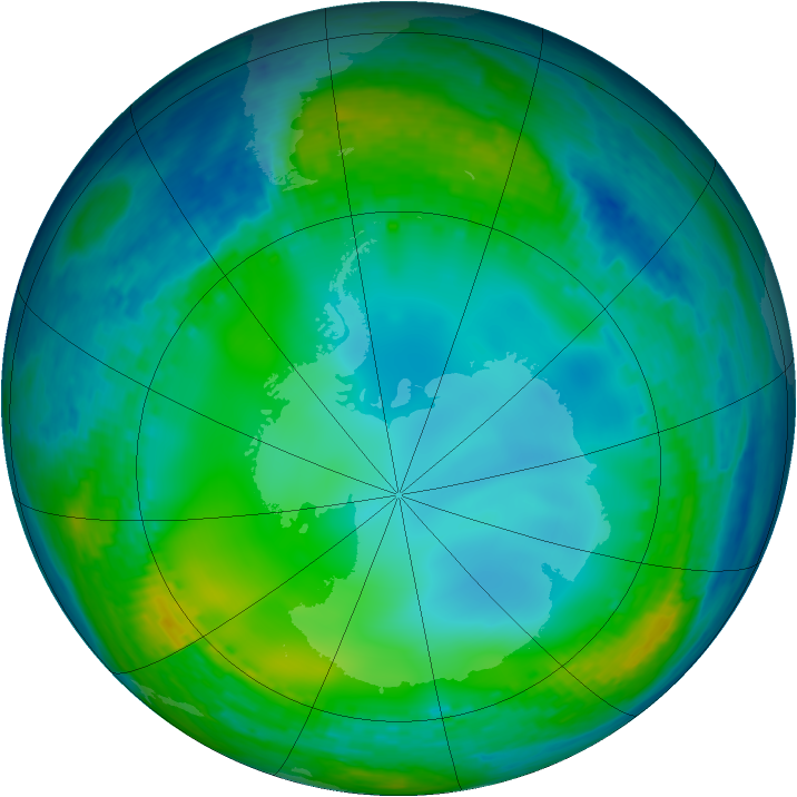 Antarctic ozone map for 09 July 2004