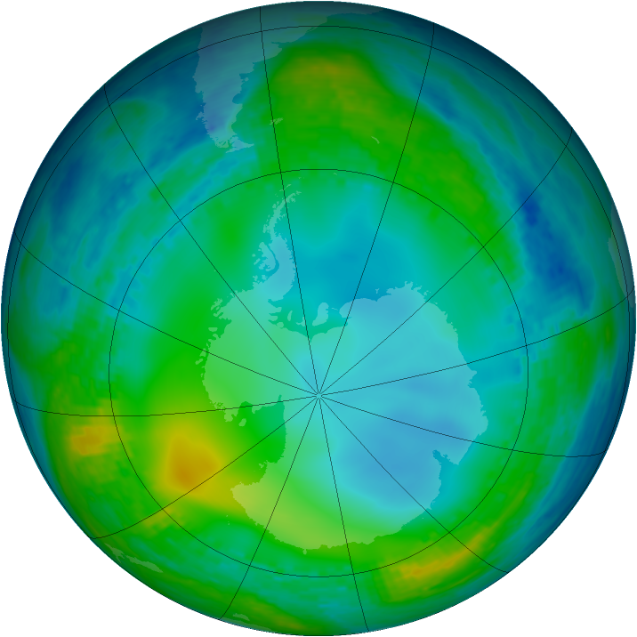 Antarctic ozone map for 10 July 2004