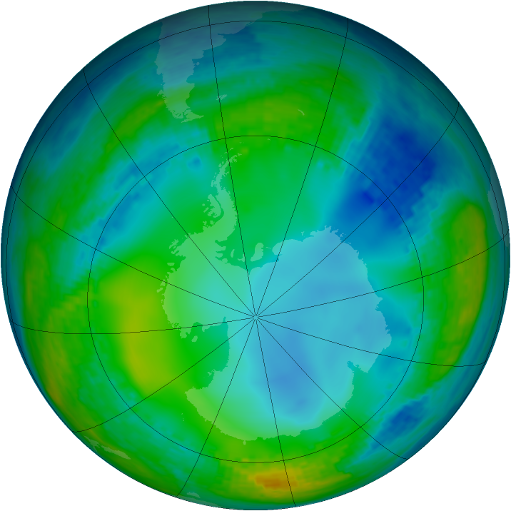 Antarctic ozone map for 12 July 2004