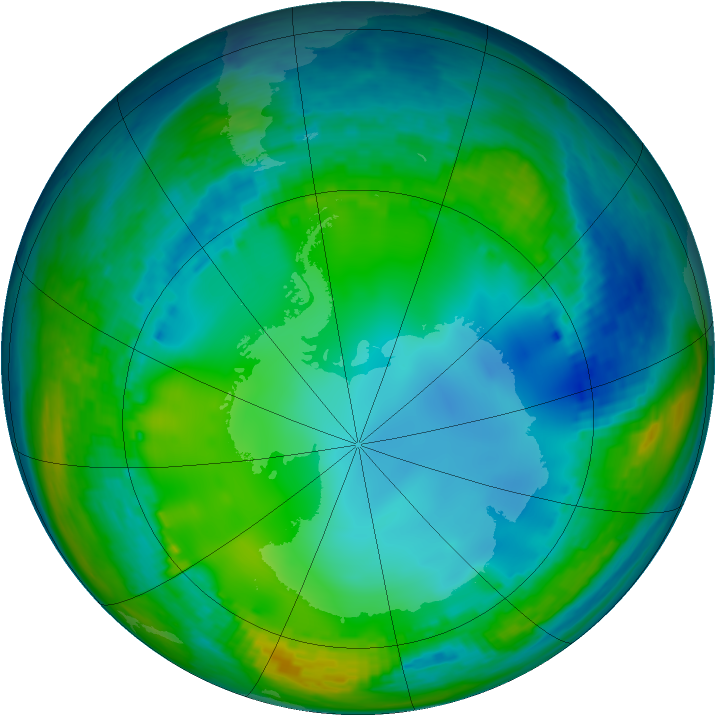 Antarctic ozone map for 13 July 2004