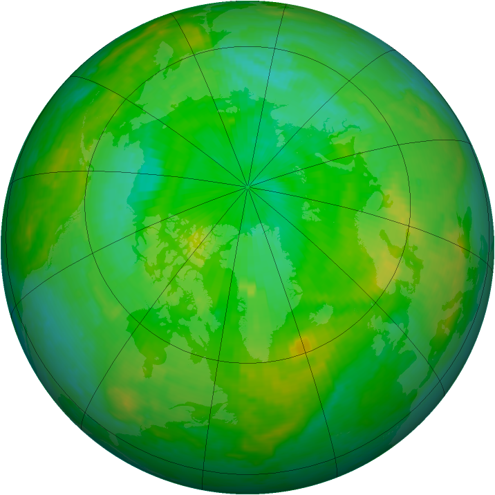 Arctic ozone map for 14 July 2004