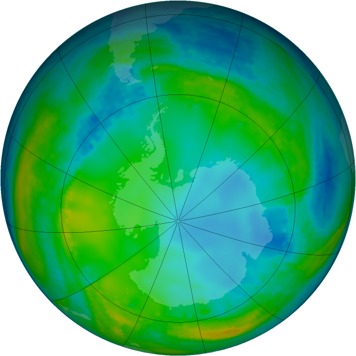Antarctic ozone map for 14 July 2004