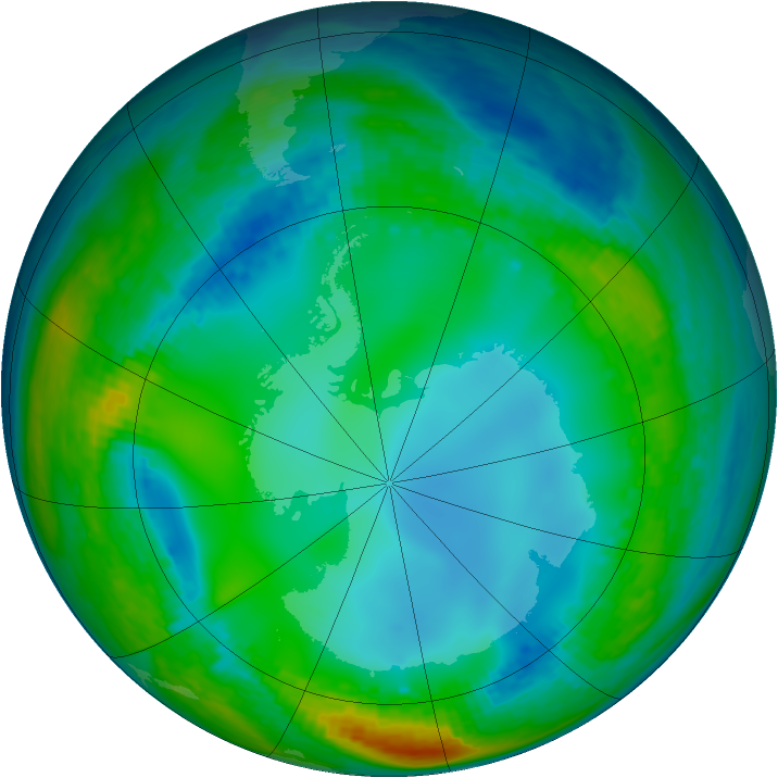 Antarctic ozone map for 15 July 2004